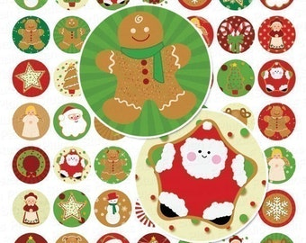 Christmas Cookies - Digital Collage Sheet - 1 Inch Circles - Instant Download