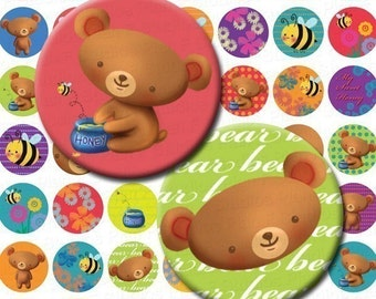 Cute Honey Bear Digital Collage Sheet - 1 Inch Rounds - Instant Download