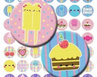 Kawaii Sweets Digital Collage Sheet - 1 Inch Circles - Instant Download
