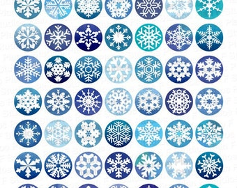 Frosty Snowflakes Digital Collage Sheet - 1 Inch Round Circles - Instant Download