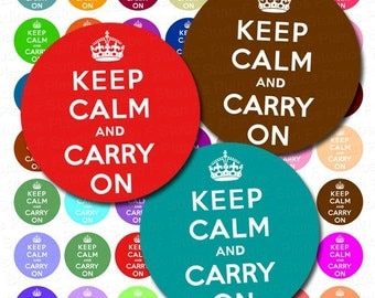 Keep Calm and Carry On Digital Collage Sheet - 1 Inch Round Circles - Instant Download