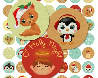 Christmas Cuties Digital Collage Sheet - 1 Inch Bottle Cap Images - Instant Download