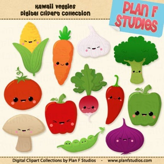 Kawaii Veggies Clip Art Collection For Commercial Use