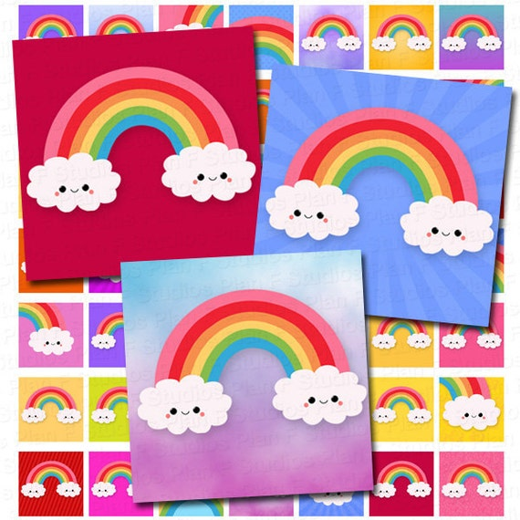 Colorful Kawaii Rainbows Digital Collage Sheet - 1x1 Inch Squares - Instant Download