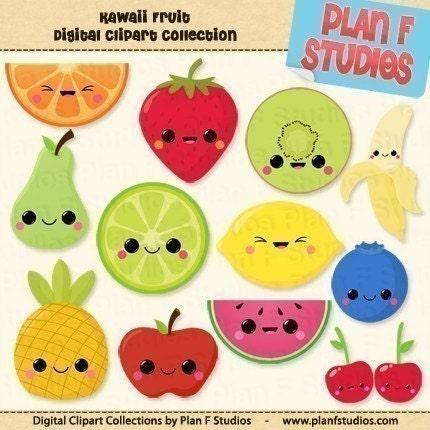 Vegetables clip art cute veggies clipart digital clip art avocado - Cute Kawaii Fruits Clip Art Collection For Personal Use