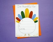 Thanksgiving I Am Thankful For - Fill-In Thank You Card