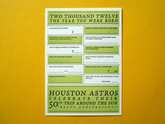 Houston 2012 Baby 'Year You Were Born' Letterpress Card