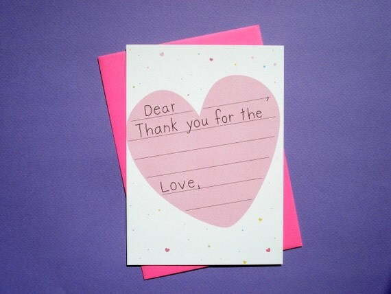 Heart and Confetti - 8 Fill-In Thank You Cards