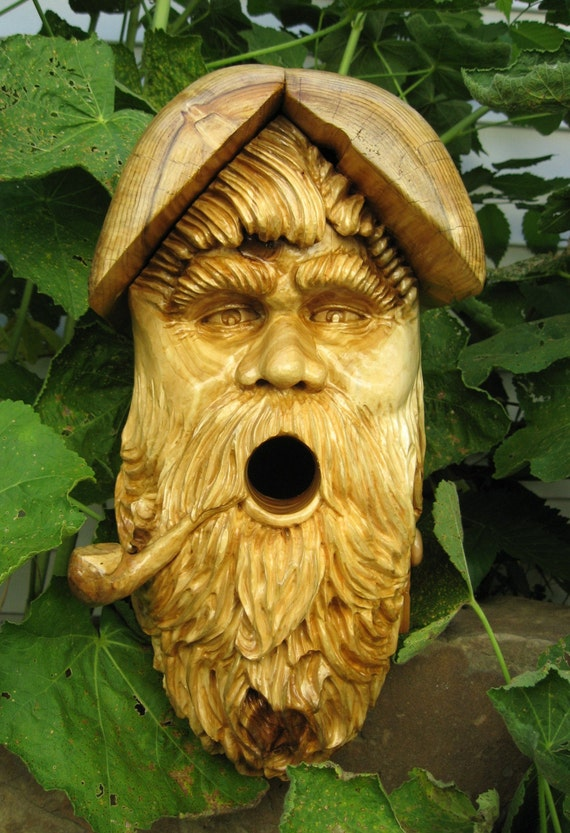 Items similar to Beautifully Hand Carved Bird House / Old ...Old Man Face Birdhouse