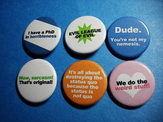 Dr. Horrible's Sing Along Blog Pinback Button Set (or Magnets)