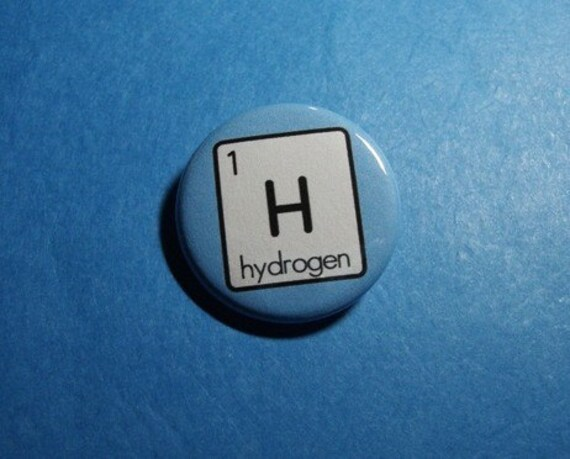 Hydrogen periodic table of elements pinback button or magnet - Hydrogen on the periodic table ...