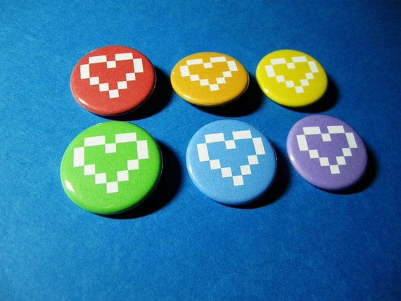 Rainbow Pixel Hearts Pinback Button Set (or Magnets)