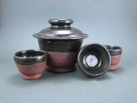 Tenmoku Red Clay Gaiwan and Cup Set