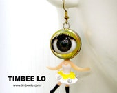 Dance Fairy Eyeball Earring - Yellow with White color