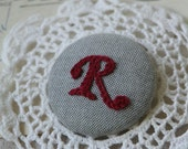 Hand Embroidered Personalized Initial Letter Doily Brooch/Pin/Badge