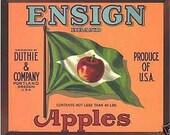 Vintage Ensign Appels Crate Label Green Flag