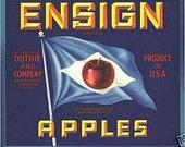 Vintage Ensign Appels Crate Label Blue Flag