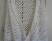 Vintage Knit Wool White Wrap Shall