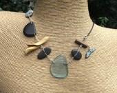 Beach & Outback Australia having a love affair - unique playful pebble glass stone silver necklace