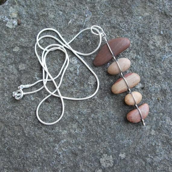 Beach Pebble necklace - sterling silver chain - unique natural stone jewelry