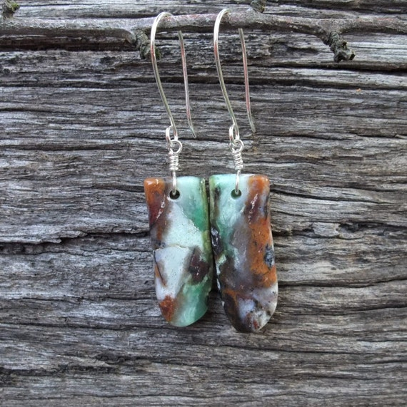 reserved for Christina - Chrysoprase Earrings - organic, earthy and hand cut by NaturesArtMelbourne