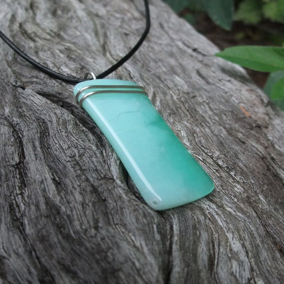 Pendant Chrysoprase - large, light & unique. Hand cut and set by NaturesArtMelbourne