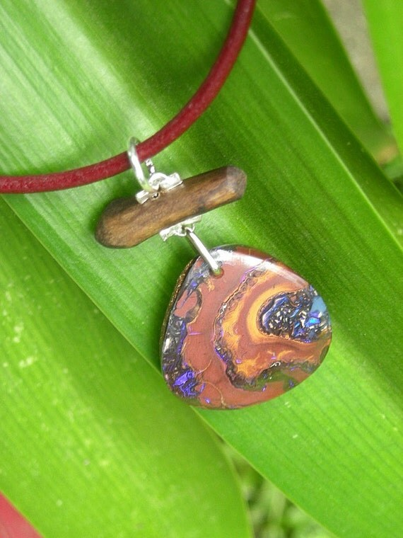 Boulder Opal Pendant \/ earthy and one off