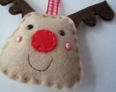 BULK BUY 12 handmade REINDEER felt christmas decorations WHOLESALE