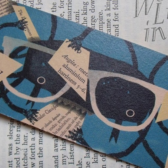Leather Bookmark - The Incredible Book Eating Monster - Blue