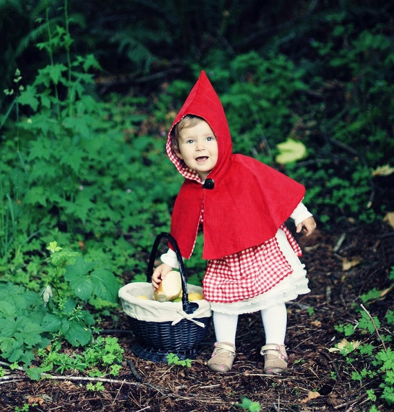 Little Red Riding Hood Pinafore and Reversible Capelet Set