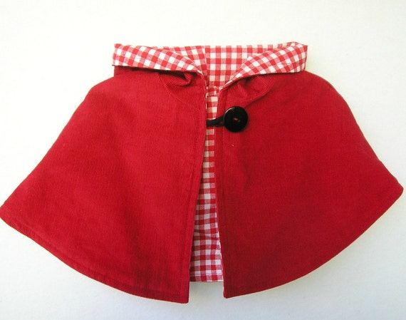 Little Red Elf Capelet - Reversible -Choice of Lining Fabric - One Size Fits 1-3T
