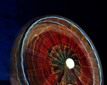 Turn, Turn, Turn - Ferris Wheel Photography Circle Carnival Circus Fair Red Black Blue Night Neon Fine Art Metallic Print - 8x10 Photograph