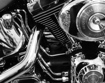 Harley - Motorcycle Photography Gift for Him Guy Dad Black and White Fine Art Print - 8x10 Photograph
