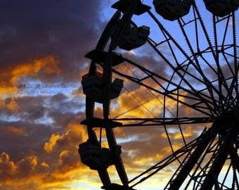 Ferris Wheel Sunset - Fair Carnival Photography Geometric Clouds Sunrise Pretty Orange Blue Black Purple Fine Art Print - 8x10 Photograph