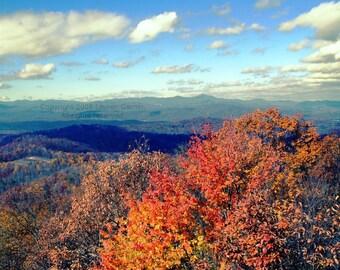Autumn Ablaze - Fall Foliage North Carolina Photography NC Mountains Jump Off Rock Blue Ridge Smokies Fine Art Print - 8x10 Photograph