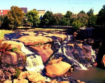 Reedy River Falls - Greenville South Carolina SC Photography Waterfall Fine Art Lustre Print - 8x10 Photograph
