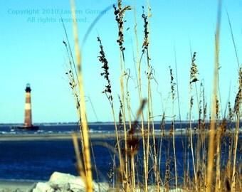 The Lighthouse - Folly Beach Charleston Photography SC South Carolina Morris Island Beach Blue Ocean Nautical Fine Art - 8x10 Photograph