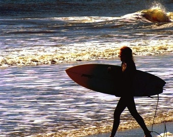 Surfer - Folly Beach South Carolina SC Photography Charleston Girl Ocean Waves Black Grey Gray Silhouette Fine Art Print - 8x10 Photograph