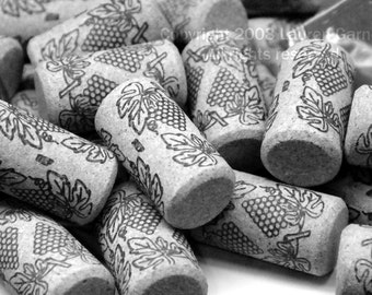 Put A Cork In It - Black and White Photography Wine Champagne Party New Years Eve Kitchen Grey Gray Fine Art Print - 8x10 Photograph