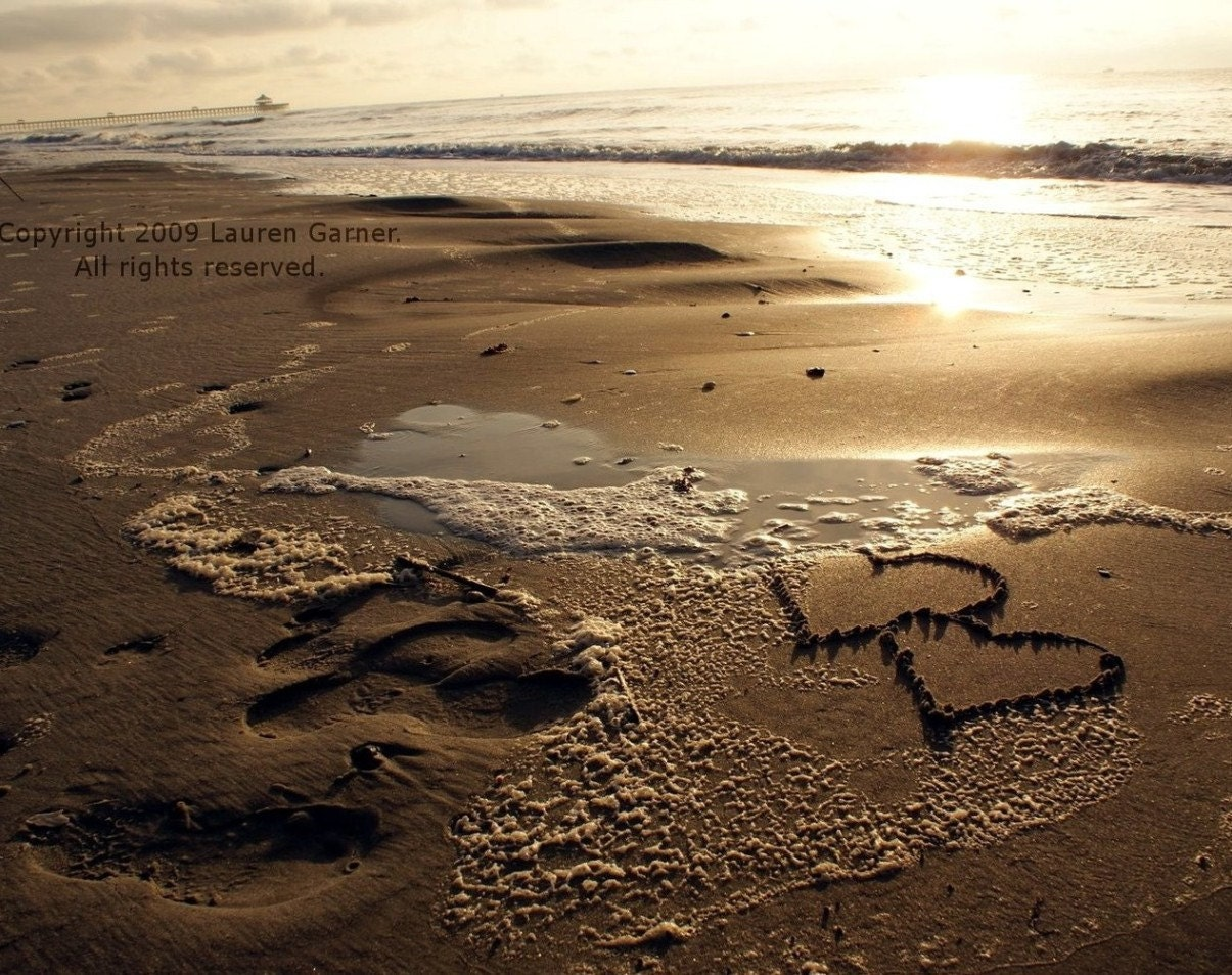 Two Hearts Written Drawn in the Sand Photography Love