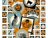 Digital sheet    SCRABBLE HALLOWEEN  .83 x .75 Inch for pendants magnets jewelry soldered glass paper craft / S127