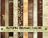 Digital paper pack AUTUMN BRoWN COLOR 10 large digital sheets 12x12 inch each download printable grunge texture / pp186