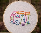 Hand Embroidered Camper Trailer 5 inch Embroidery Hoop Wall Art