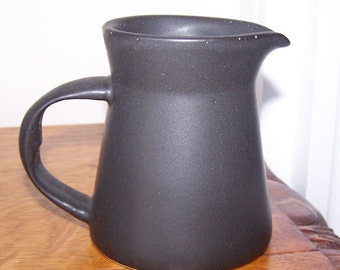 Bennington Potters, Matte Black Creamer, Small Black Pitcher, Mid Century Modern, Spark Logo, Black Pottery, Atomic Design, Vintage
