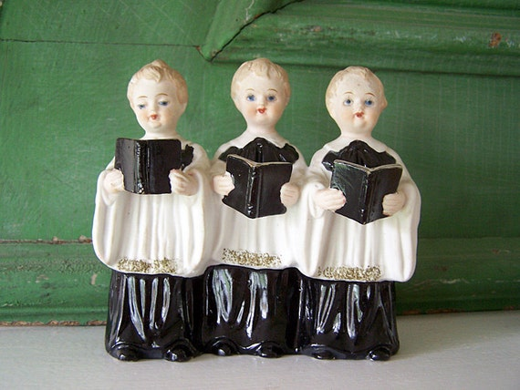 Vintage Ceramic Choir Boys Figurine