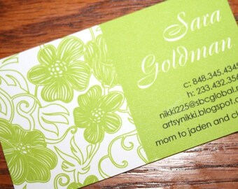 Calling Cards, Business Cards, Mommy Cards, Green Floral Calling Cards, Chartreuse Green Cards - set of 50