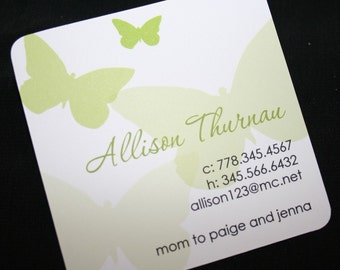 Square Butterfly Calling Cards, Business cards, Mommy Cards, Butterfly Mommy Cards, Rounded - Set of 72