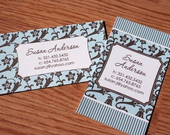 Calling cards, Mommy Cards, Business cards, Social Cards, Blue and Brown Floral Calling Cards - set of 50