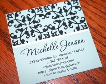 Calling Cards, Business Cards, Mommy Cards or Gift Tags, Black and Blue Damask Cards - Square Calling Cards - Set of 60
