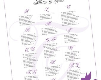 Seating Chart for Wedding or Event - Purple, Bird Theme, Seating Chart - Printable Digital File